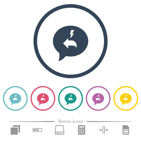 Quick reply message flat color icons in round outlines. 6 bonus icons included.  イラスト・ベクター素材