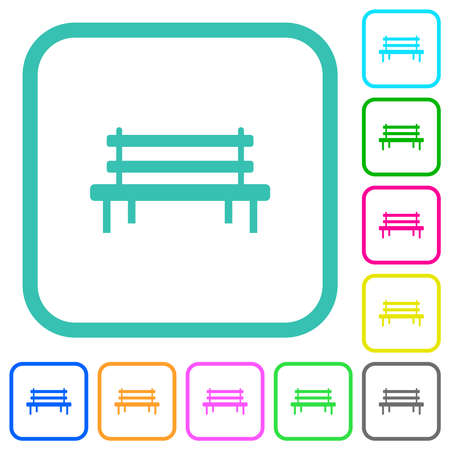 Park bench vivid colored flat icons in curved borders on white background
