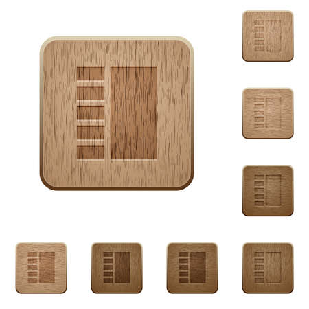 Vertical tabbed layout on rounded square carved wooden button styles Illusztráció
