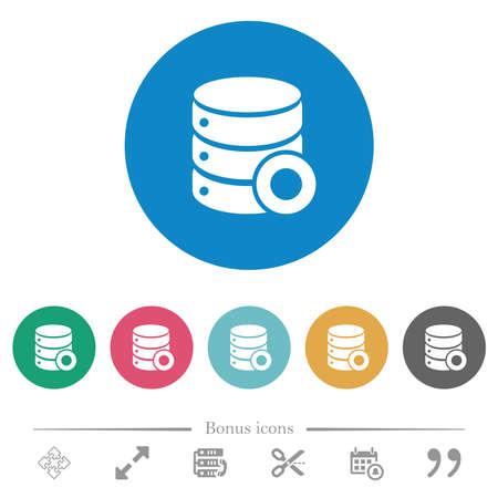 Database macro record flat white icons on round color backgrounds. 6 bonus icons included.