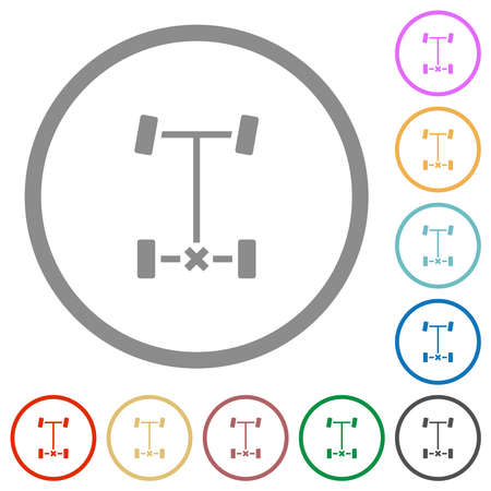 Rear differential lock flat color icons in round outlines on white background