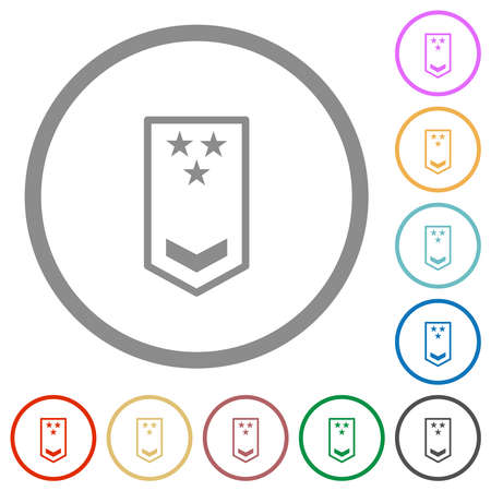 Military insignia with one chevron and three stars flat color icons in round outlines on white background