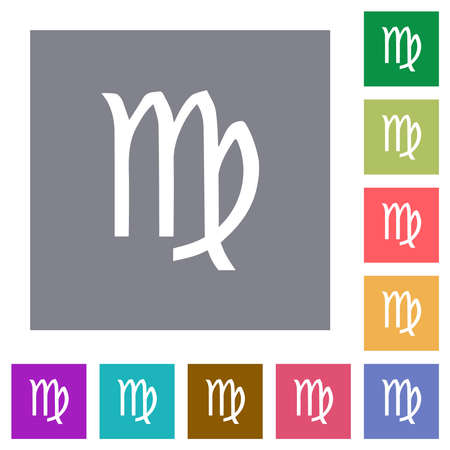 virgo zodiac symbol flat icons on simple color square backgrounds
