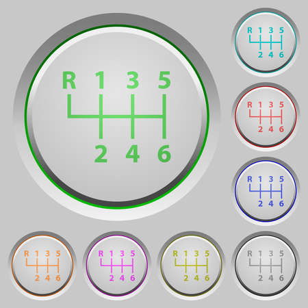 Six speed manual gear shift color icons on heavy push buttons