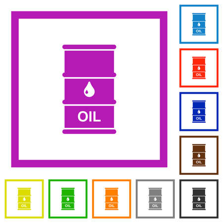 Oil barrel flat color icons in square frames on white background