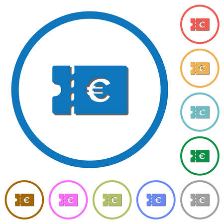 Euro discount coupon flat color vector icons with shadows in round outlines on white background Ilustracja