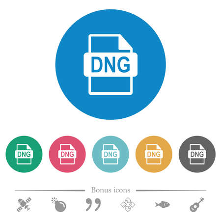 DNG file format flat white icons on round color backgrounds. 6 bonus icons included.