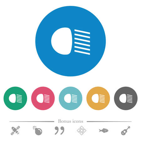 Dipped beam lights flat white icons on round color backgrounds. 6 bonus icons included. Ilustracja