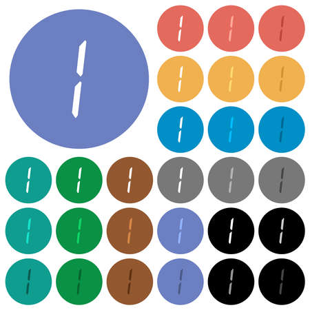 digital number one of seven segment type multi colored flat icons on round backgrounds. Includes white, light and dark icon variations for hover and active status effects, and bonus shades.