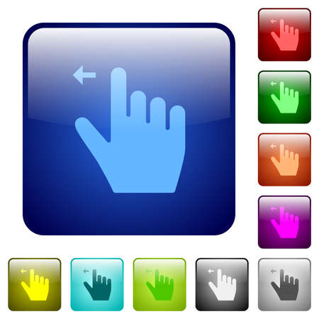 Right handed move left gesture icons in rounded square color glossy button set