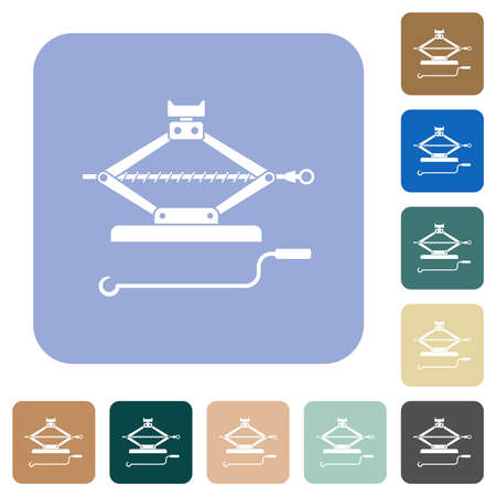 Car jack with crank white flat icons on color rounded square backgrounds