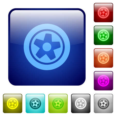 Car wheel icons in rounded square color glossy button set Ilustracja