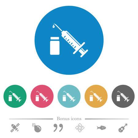 Syringe with ampoule flat white icons on round color backgrounds. 6 bonus icons included. Ilustracja