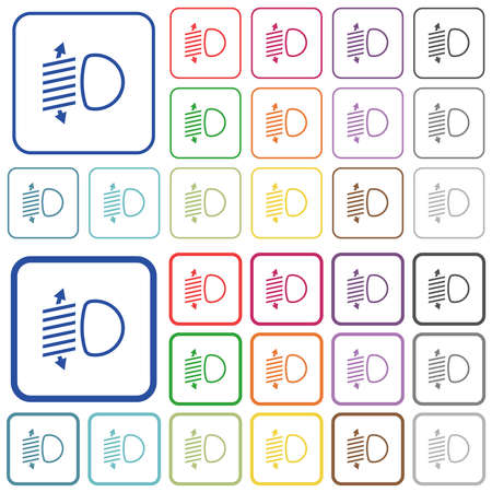 Headlight level adjustment color flat icons in rounded square frames. Thin and thick versions included. Ilustracja