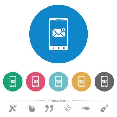 Smartphone incoming message flat white icons on round color backgrounds. 6 bonus icons included.
