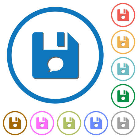 File comment flat color vector icons with shadows in round outlines on white background