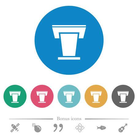 Conference podium flat white icons on round color backgrounds. 6 bonus icons included. Ilustracja