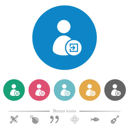 Import user data flat white icons on round color backgrounds. 6 bonus icons included.