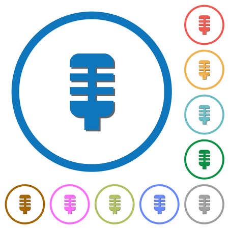 Microphone flat color vector icons with shadows in round outlines on white background