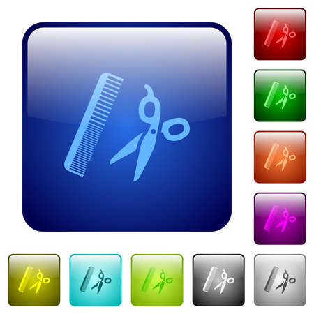 Comb and scissors icons in rounded square color glossy button set