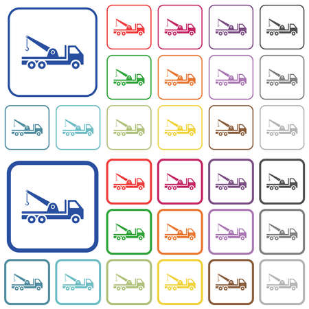 Crane truck color flat icons in rounded square frames. Thin and thick versions included. Ilustracja