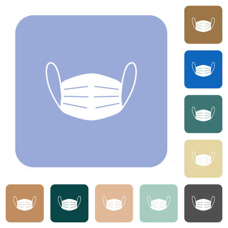 Medical face mask white flat icons on color rounded square backgrounds