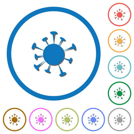 Corona virus flat color vector icons with shadows in round outlines on white background