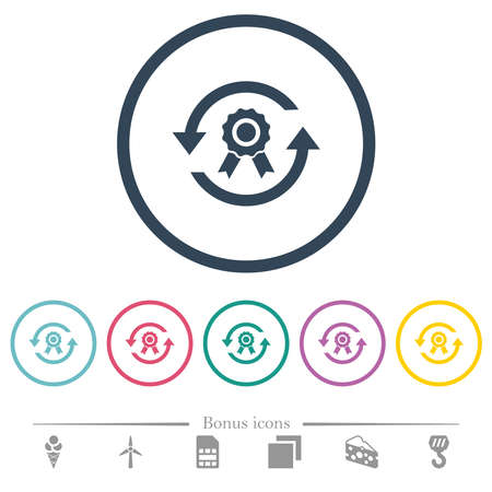 Renew certificate flat color icons in round outlines. 6 bonus icons included.