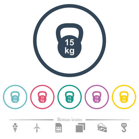 Kettlebel 15 Kg flat color icons in round outlines. 6 bonus icons included. Ilustracja