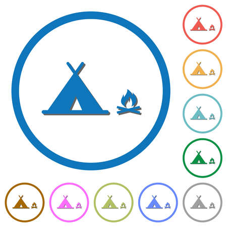 Camping flat color vector icons with shadows in round outlines on white background