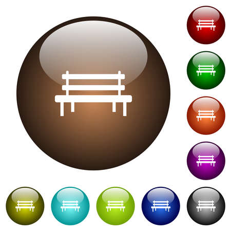 Park bench white icons on round glass buttons in multiple colors