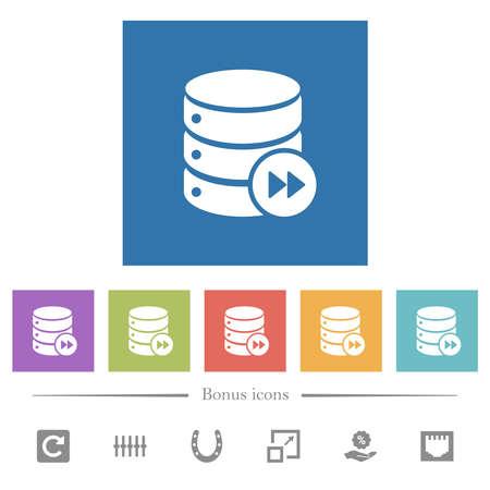 Database macro fast forward flat white icons in square backgrounds. 6 bonus icons included.
