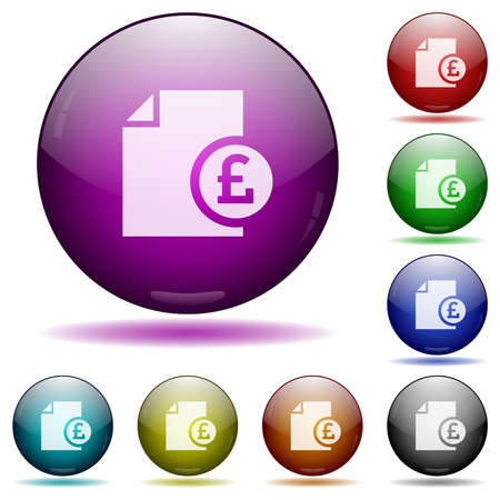 Pound financial report icons in color glass sphere buttons with shadows