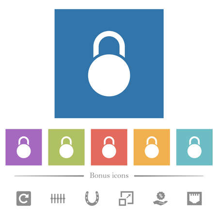 Locked round padlock flat white icons in square backgrounds. 6 bonus icons included.