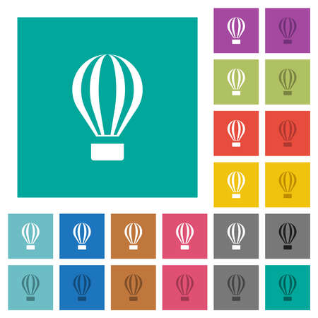 Air balloon multi colored flat icons on plain square backgrounds. Included white and darker icon variations for hover or active effects. 일러스트