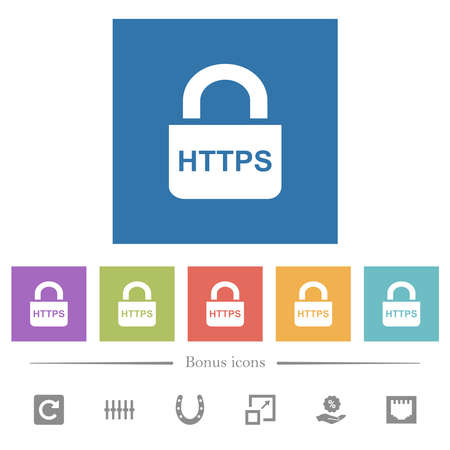 Secure http protocol flat white icons in square backgrounds. 6 bonus icons included. 일러스트