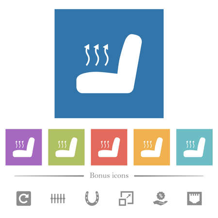 Car seat heating flat white icons in square backgrounds. 6 bonus icons included.
