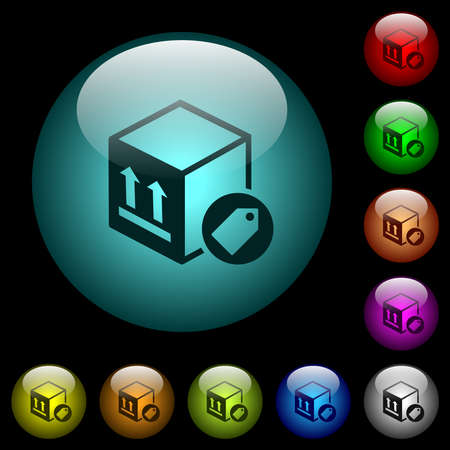 Package labeling icons in color illuminated spherical glass buttons on black background. Can be used to black or dark templates