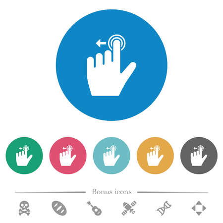 Left handed slide left gesture flat white icons on round color backgrounds. 6 bonus icons included.
