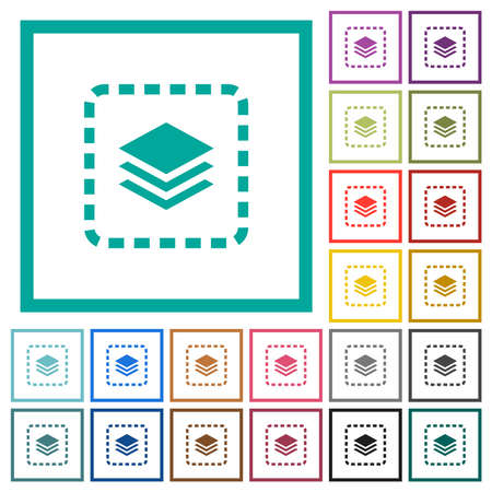 Place layer flat color icons with quadrant frames on white background