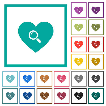 Dating flat color icons with quadrant frames on white background