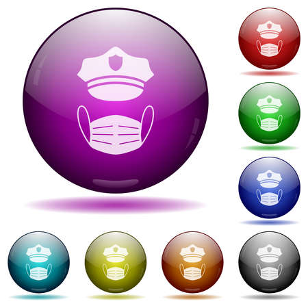 Police hat and medical face mask icons in color glass sphere buttons with shadows