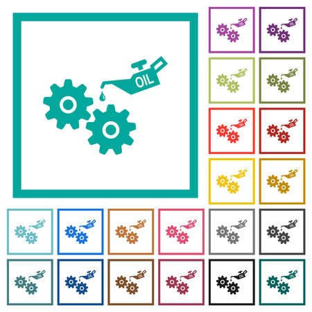 Oiler can and gears flat color icons with quadrant frames on white background