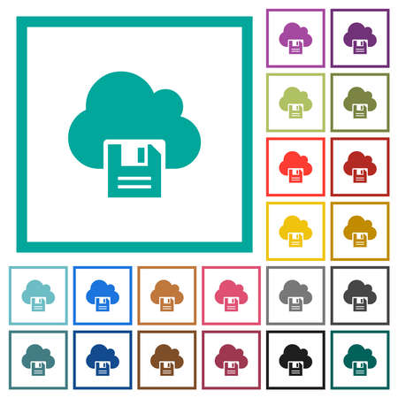 Cloud storage flat color icons with quadrant frames on white background