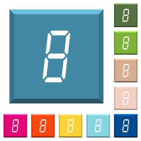 digital number eight of seven segment type white icons on edged square buttons in various trendy colors