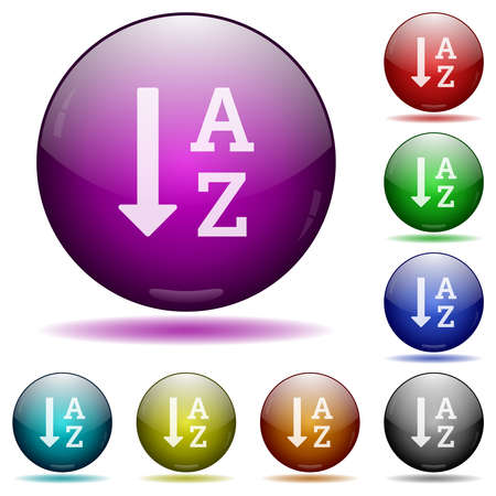 Alphabetically ascending ordered list icons in color glass sphere buttons with shadows Иллюстрация