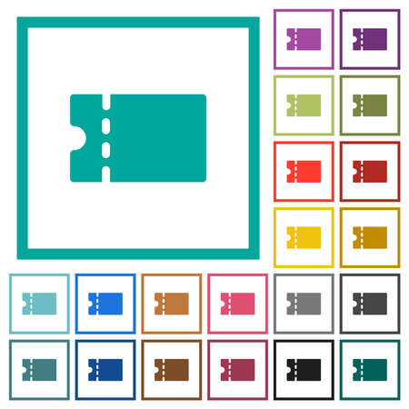 Blank discount coupon flat color icons with quadrant frames on white background Illustration