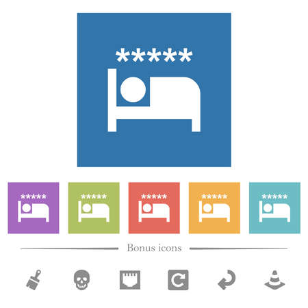 Luxury hotel flat white icons in square backgrounds. 6 bonus icons included. 일러스트