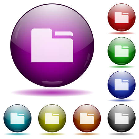 Tab folder icons in color glass sphere buttons with shadows Vettoriali