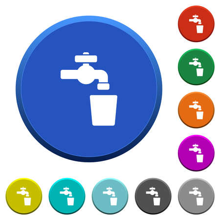 Drinking water round color beveled buttons with smooth surfaces and flat white icons Ilustracja